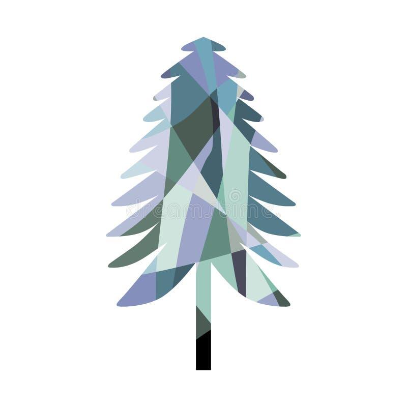 Siluetta dell'albero di abete del mosaico colouring illustrazione vettoriale
