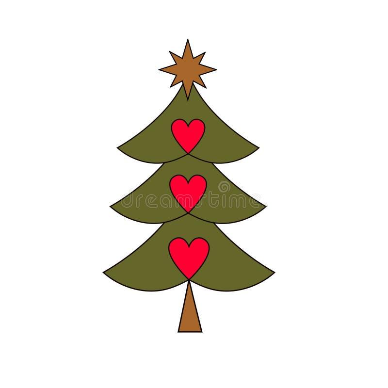 Siluetta dell'albero di Natale con le decorazioni autoadesivo piano, il manifesto ecc illustrazione di stock