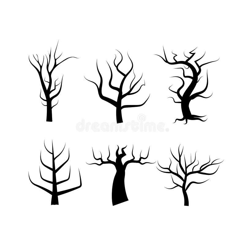 Siluetta dell'albero isolata su fondo astratto bianco usando per illustrazione di stock
