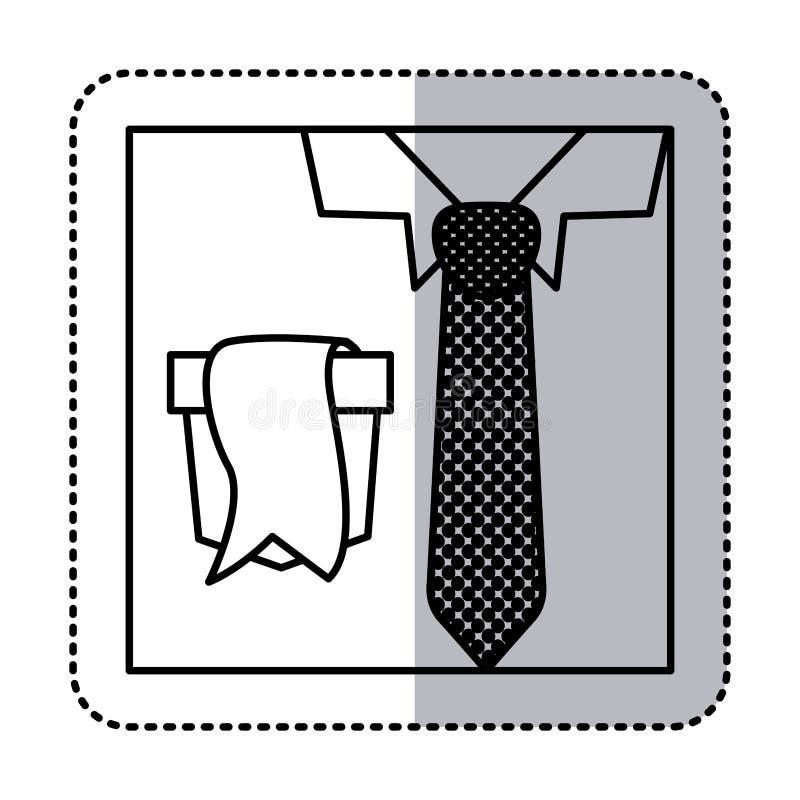 siluetta dell'autoadesivo con la fine sulla camicia convenzionale con la cravatta punteggiata e l'etichetta in tasca illustrazione di stock