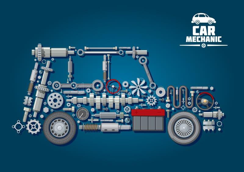 Siluetta dell'automobile con i dettagli e le ruote illustrazione di stock