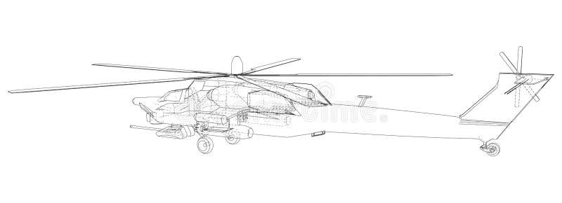 Siluetta dell'elicottero militare Illustrazione creata di 3d Concetto della cavo-struttura di vettore illustrazione di stock