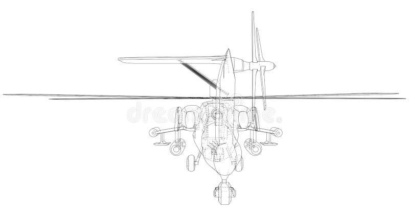 Siluetta dell'elicottero militare Illustrazione creata di 3d Concetto della cavo-struttura di vettore illustrazione vettoriale