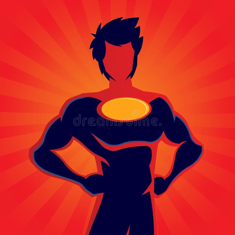 Siluetta dell'eroe eccellente con fondo rosso illustrazione di stock