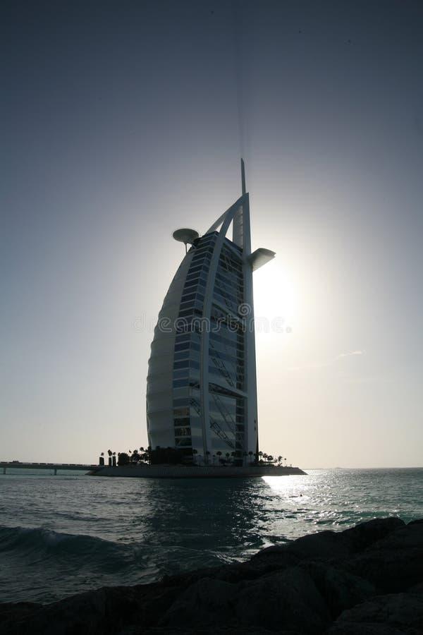 Siluetta dell'hotel dell'Arabo di Al di Burj immagine stock libera da diritti