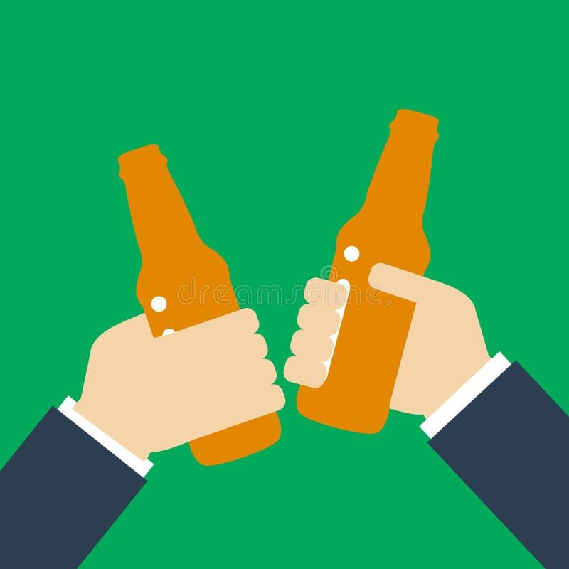 Siluetta dell'icona del partito della birra Due equipaggiano la tenuta in bottiglie di birra delle mani Pane tostato che beve le  illustrazione di stock