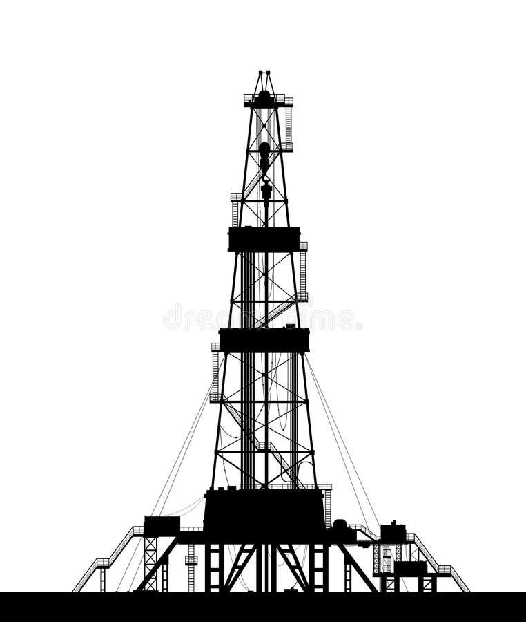 Siluetta dell'impianto offshore isolata su fondo bianco. royalty illustrazione gratis