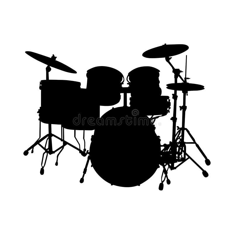 Siluetta dell'insieme del tamburo royalty illustrazione gratis