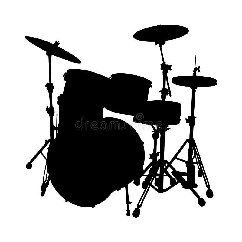 Siluetta dell'insieme del tamburo illustrazione di stock