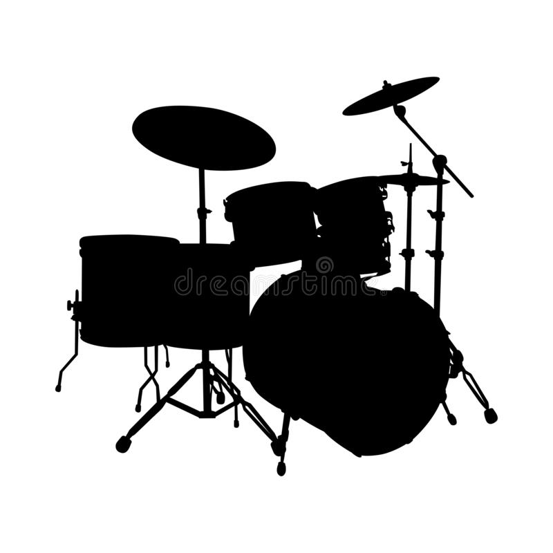 Siluetta dell'insieme del tamburo illustrazione vettoriale