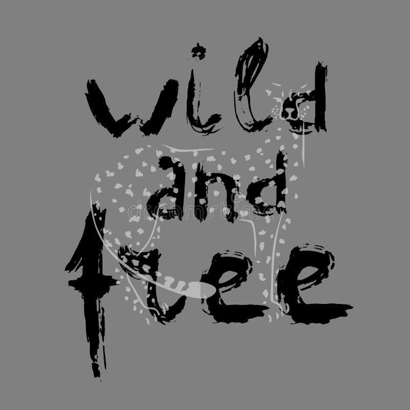 Siluetta dell'iscrizione di lerciume e del ghepardo sul fondo grigio Illustrazione di vettore royalty illustrazione gratis