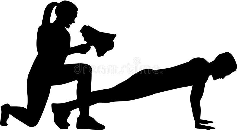 Siluetta dell'istruttore di forma fisica - la donna incoraggia sull'uomo illustrazione di stock