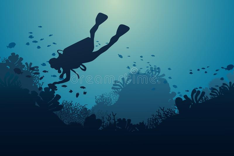 Siluetta dell'operatore subacqueo, barriera corallina e subacqueo illustrazione di stock