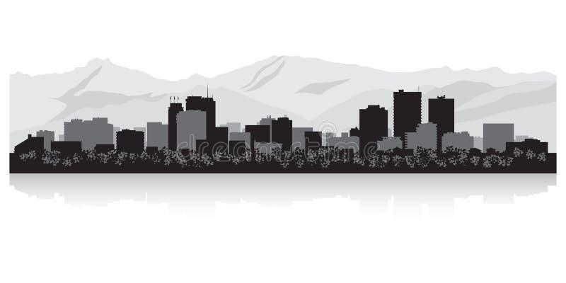 Siluetta dell'orizzonte della città di Anchorage Alaska illustrazione di stock