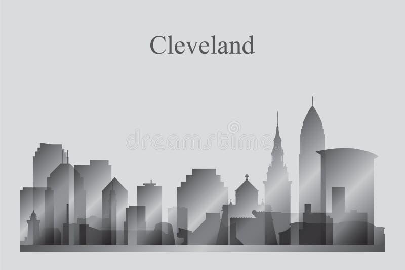 Siluetta dell'orizzonte della città di Cleveland nella gradazione di grigio royalty illustrazione gratis