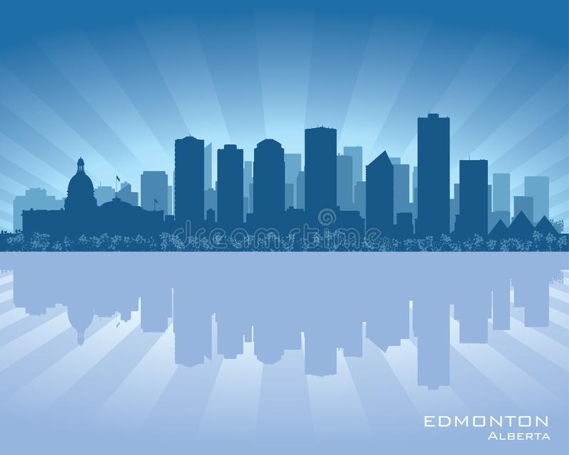 Siluetta dell'orizzonte della città di Edmonton Canada illustrazione di stock