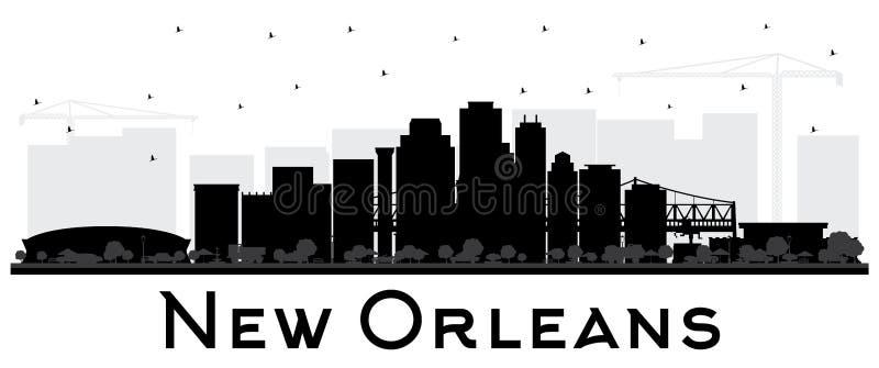 Siluetta dell'orizzonte della città di New Orleans Luisiana con Buildin nero illustrazione vettoriale