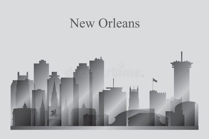Siluetta dell'orizzonte della città di New Orleans nella gradazione di grigio illustrazione vettoriale
