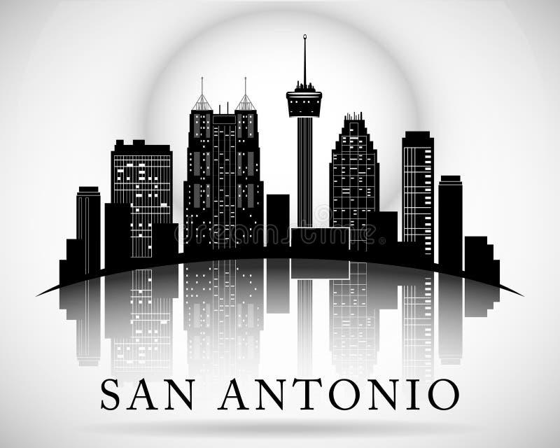 Siluetta dell'orizzonte della città di San Antonio Texas illustrazione vettoriale