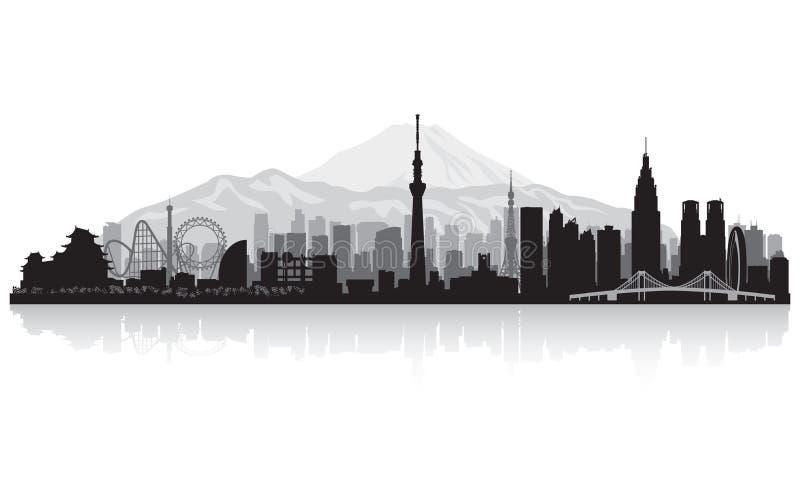 Siluetta dell'orizzonte della città di Tokyo Giappone illustrazione di stock