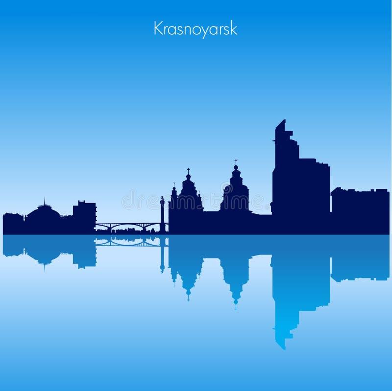 Siluetta dell'orizzonte di Krasnojarsk di vettore La Russia illustrazione di stock
