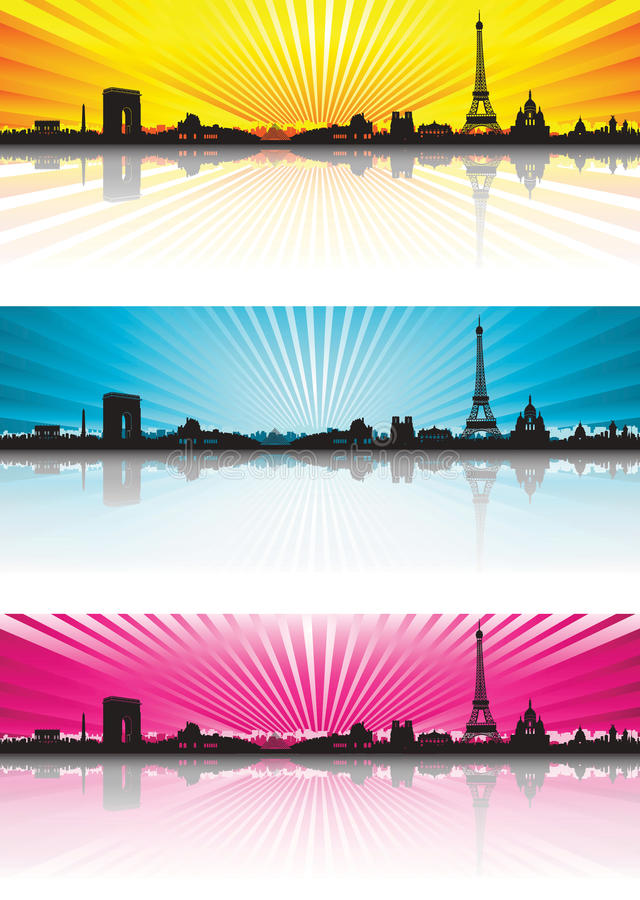 Siluetta dell'orizzonte di Parigi del fondo di colore illustrazione vettoriale