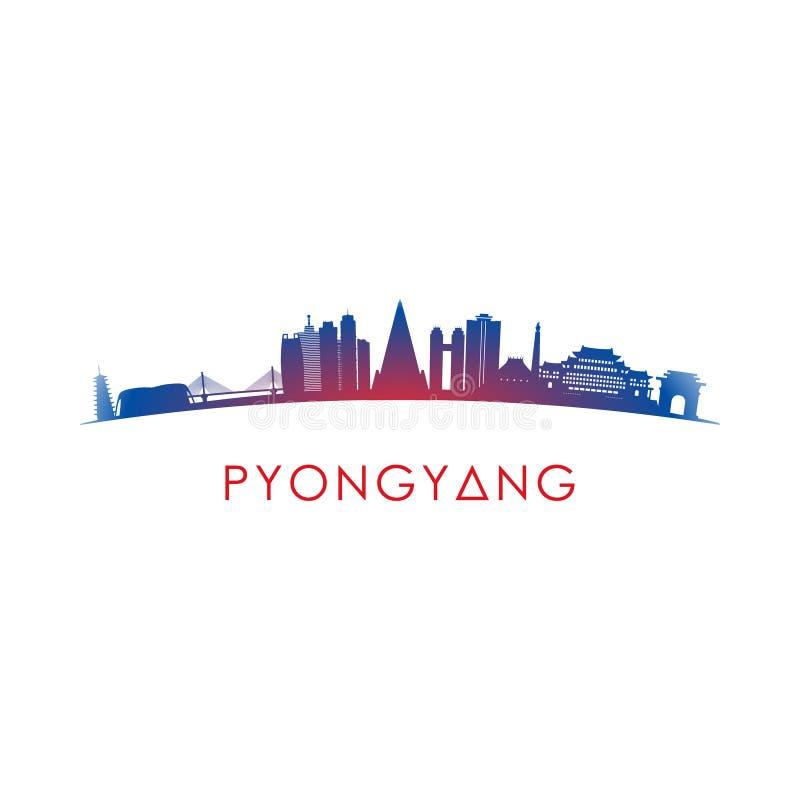 Siluetta dell'orizzonte di Pyongyang illustrazione di stock