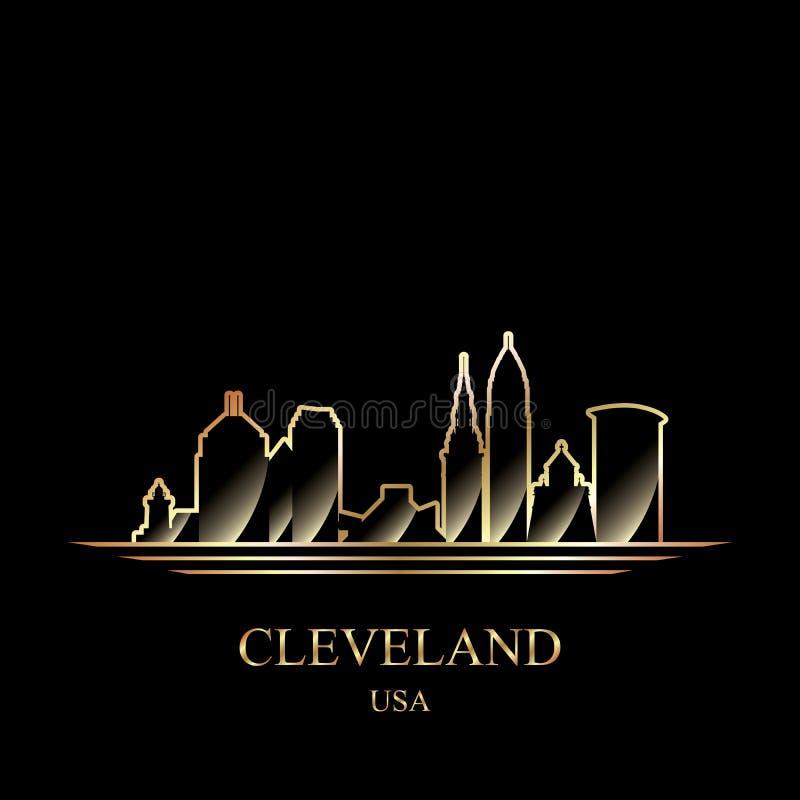 Siluetta dell'oro di Cleveland su fondo nero illustrazione vettoriale