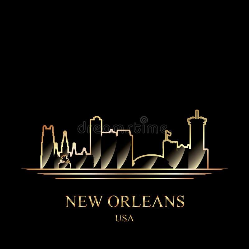 Siluetta dell'oro di New Orleans su fondo nero illustrazione vettoriale