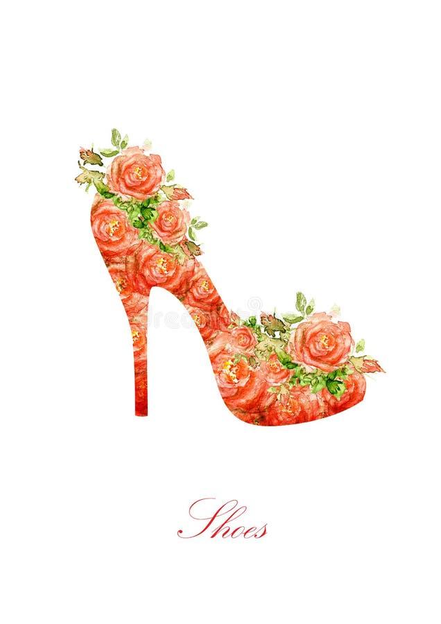 Siluetta dell'scarpe delle donne, da colore di acqua immagini stock