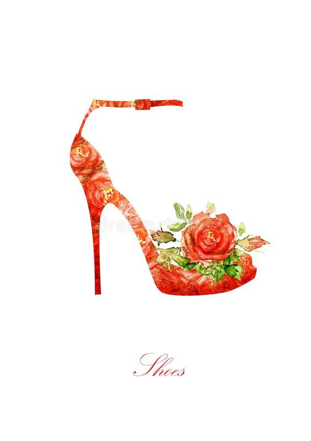 Siluetta dell'scarpe delle donne, da colore di acqua fotografie stock