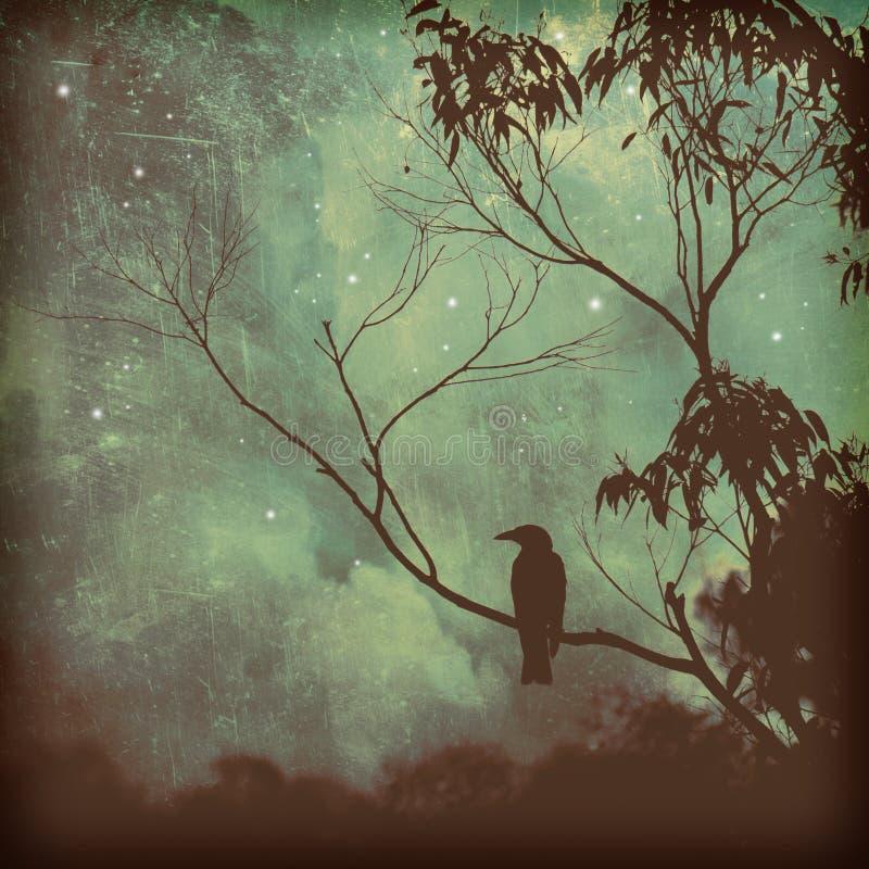 Siluetta dell'uccello canoro contro il cielo lunatico di sera illustrazione vettoriale