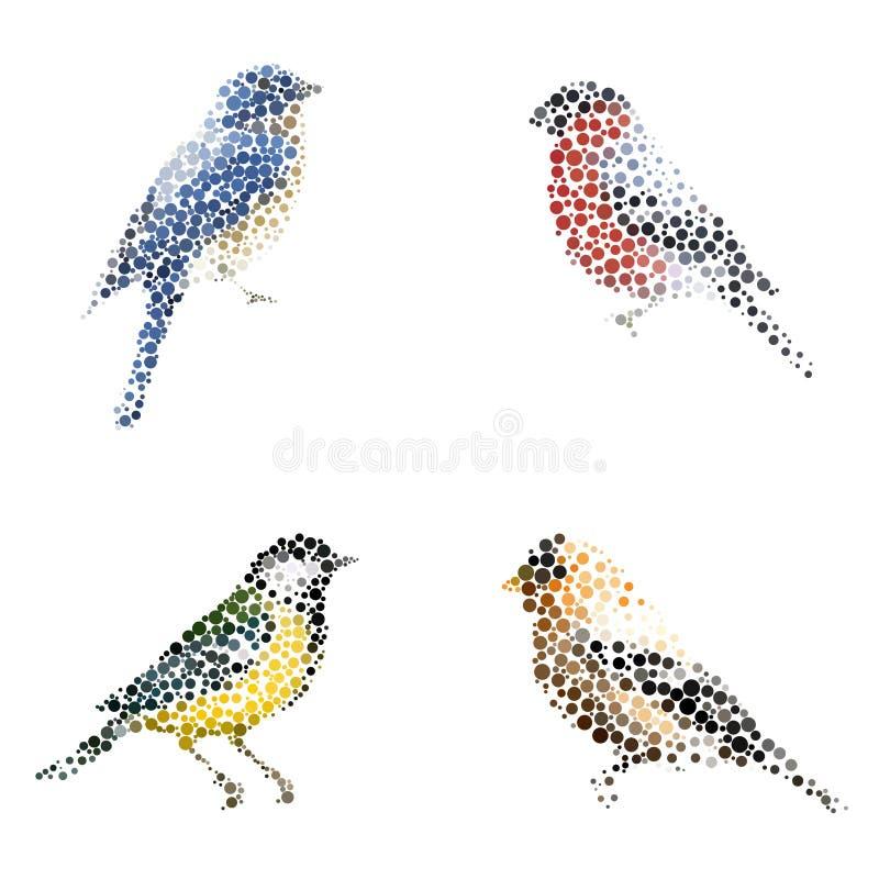 Siluetta dell'uccello che consiste del cerchio illustrazione di stock