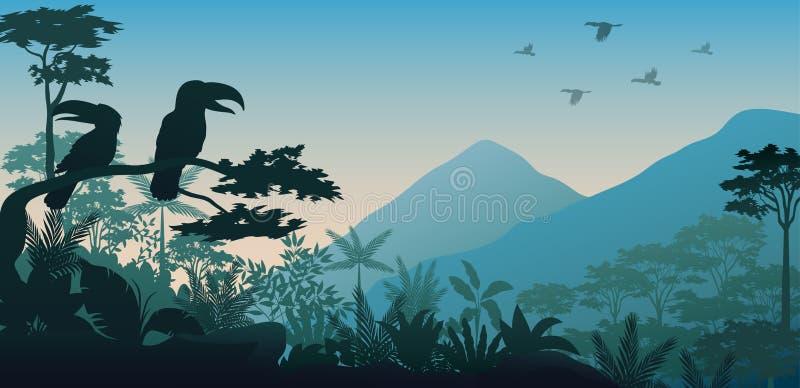 Siluetta dell'uccello nella sera illustrazione vettoriale