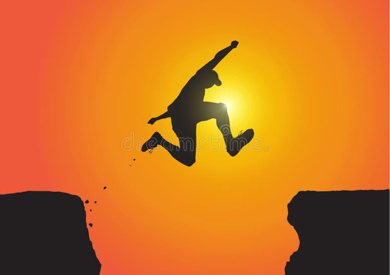 Siluetta dell'uomo che salta sopra le scogliere sul fondo dorato di alba, sul risultato, sul successo e sul concetto di conquista illustrazione vettoriale