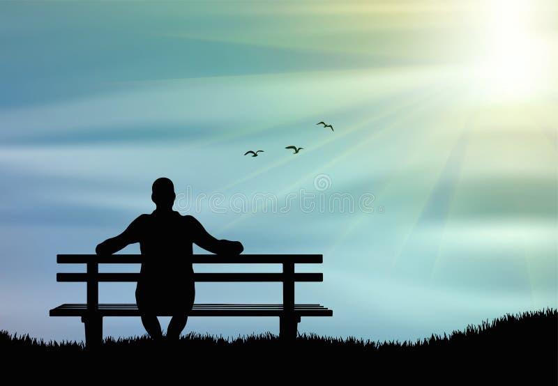Siluetta dell'uomo che si siede da solo sul banco al tramonto ed al pensiero illustrazione di stock