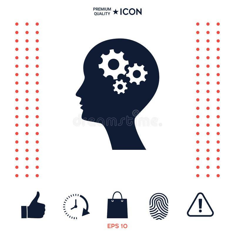 Download Siluetta Dell'uomo Con L'icona Degli Ingranaggi Illustrazione Vettoriale - Illustrazione di gestione, contatto: 117975860