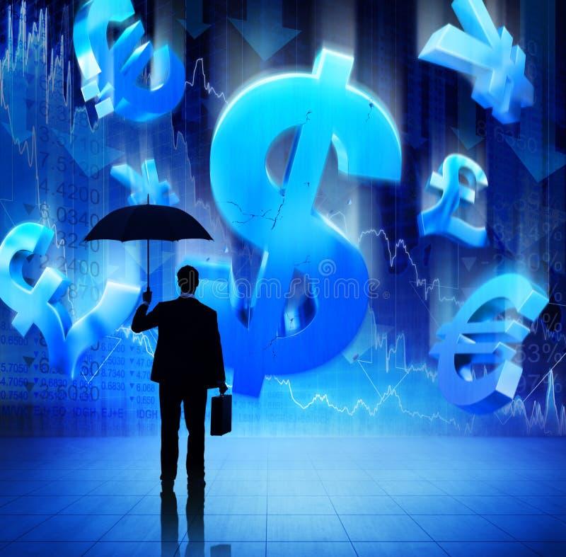 Siluetta dell'uomo d'affari sulla crisi finanziaria immagini stock