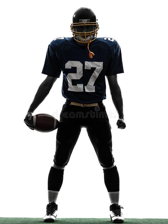 Siluetta dell'uomo del giocatore di football americano dello stratega fotografia stock