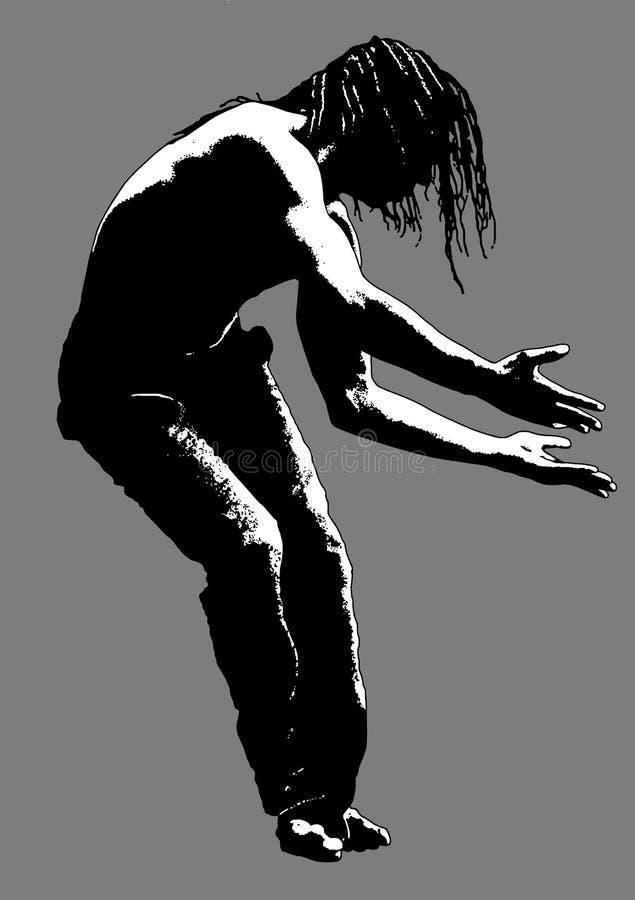Siluetta dell'uomo di colore di Dancing immagini stock