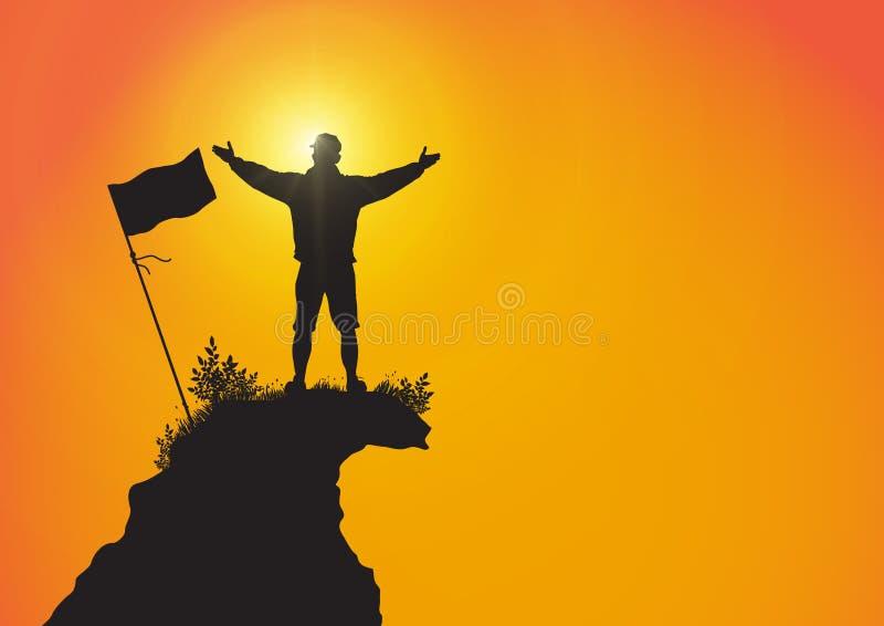 Siluetta dell'uomo sopra la montagna con le mani su con la bandiera sul fondo di alba, sul successo, sul risultato e sul concetto illustrazione di stock