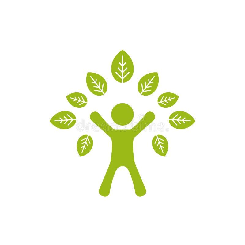 Siluetta dell'uomo verde con le foglie Albero umano Isolato su bianco royalty illustrazione gratis
