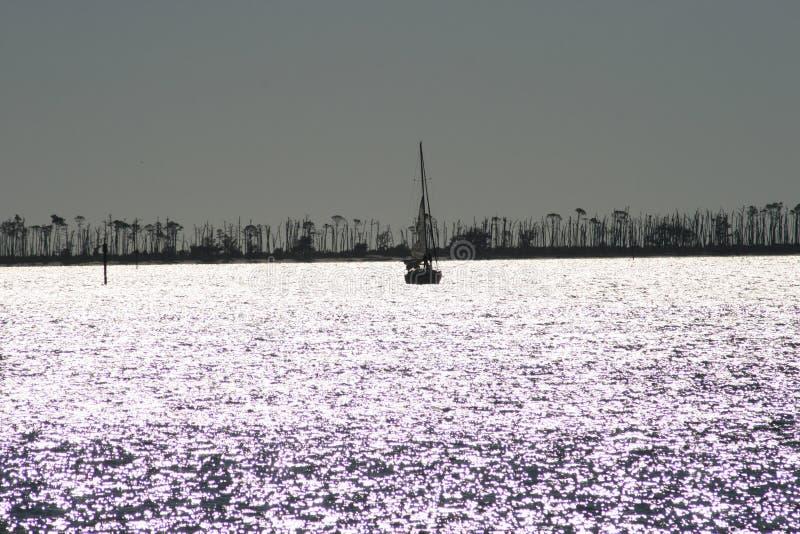 Siluetta della barca a vela fotografie stock libere da diritti