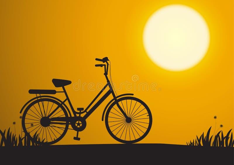 Siluetta della bicicletta durante l'alba nel parco, illustr di vettore royalty illustrazione gratis