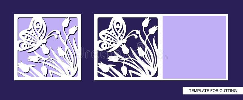 Siluetta della cartolina d'auguri con i fiori e la farfalla Il modello per il taglio del laser, muore o incarta il taglio illustrazione di stock