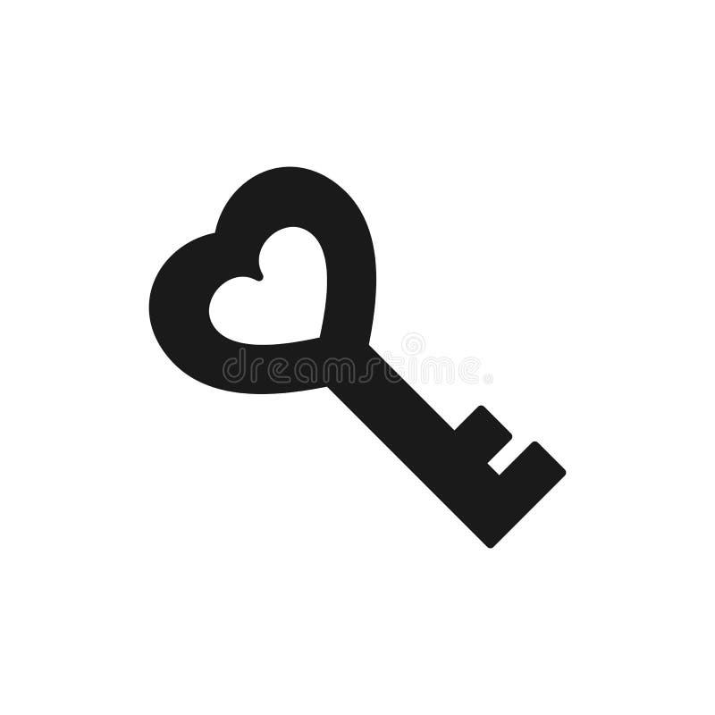Siluetta della chiave Progettazione piana Simbolo di amore royalty illustrazione gratis