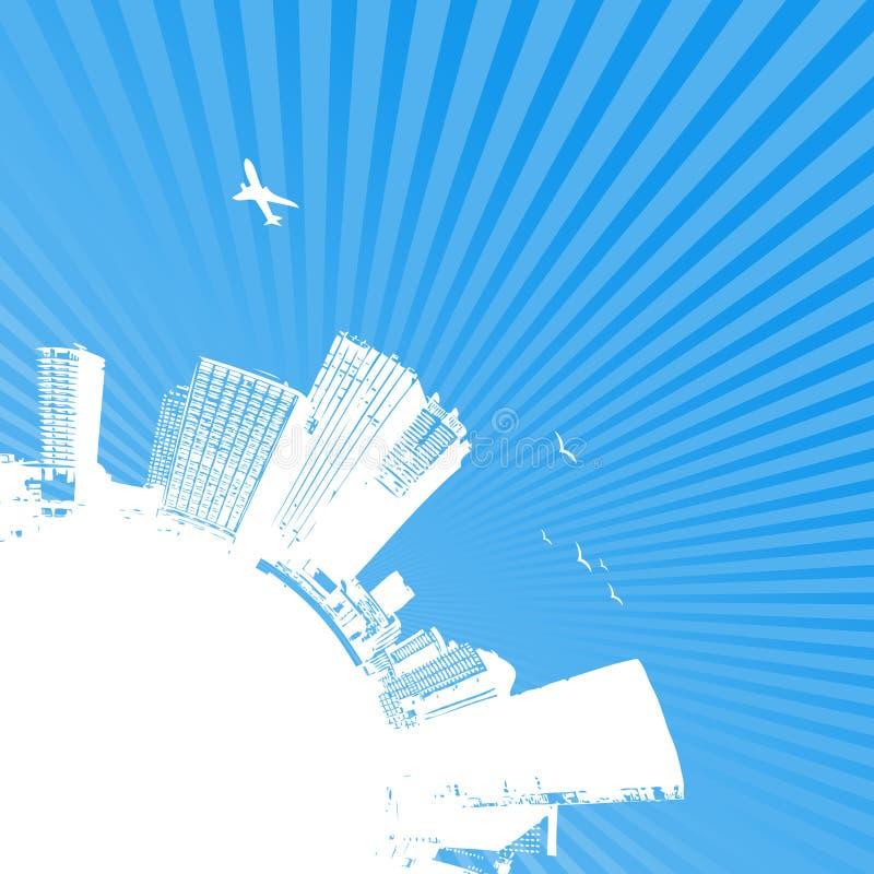 Siluetta della città con alba. illustrazione di stock