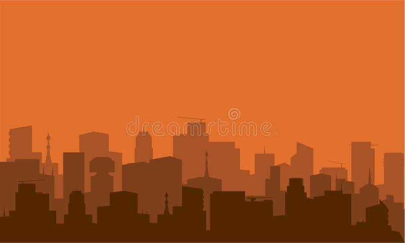 Siluetta della città con colore marrone royalty illustrazione gratis