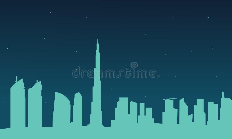 Siluetta della città del Dubai alla notte illustrazione di stock