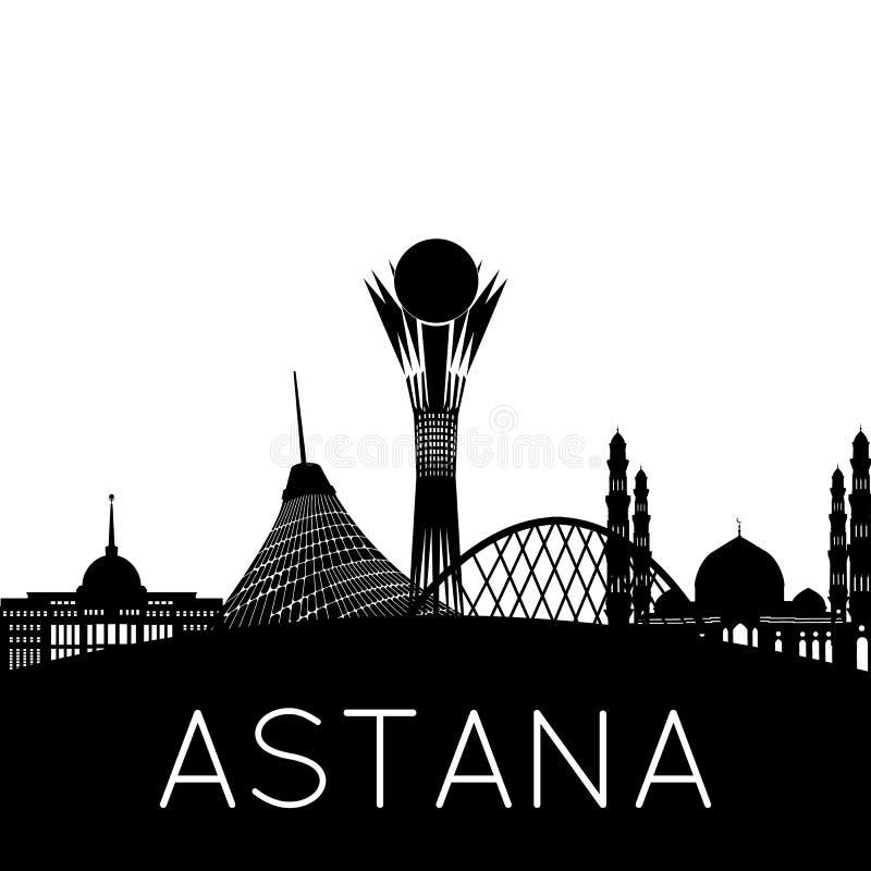 Siluetta della città di Astana immagini stock